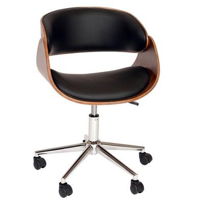 Redondo Modern Office Chair Black/Walnut - Armen Living