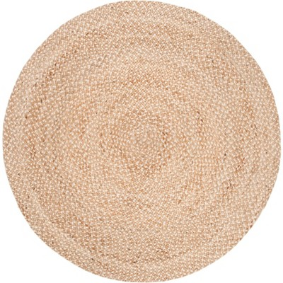 6' Solid Woven Round Area Rug Natural/Ivory - Safavieh