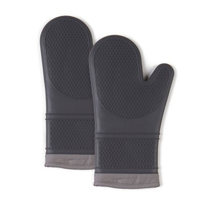 2pk Silicone Oven Mitts Gray - Town & Country Living