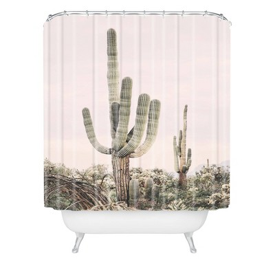 Sisi and Seb Pastel Cactus Shower Curtain Pink - Deny Designs