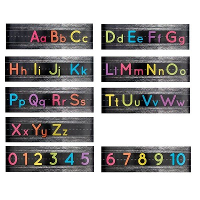"Alphabet Bulletin Set, Manuscript Alphabet Bulletin Board Posters, Classroom, Playroom Wall, Total 9 Posters Including Alphabets Numbers, 21x6"""