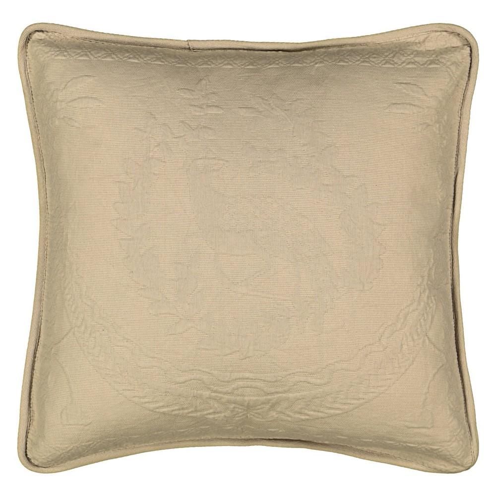 "Image of ""Birch King Charles Matelasse Throw Pillow (20x20"""") - Historic Charleston, Brown"""