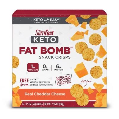 SlimFast Keto Fat Bomb Snack Crisps – Real Cheddar Cheese - 6ct