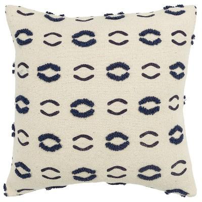 "20""x20"" Geometric Motif Polyester Filled Pillow Navy - Donny Osmond Home"