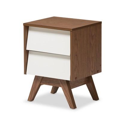 """Hildon Mid - Century Modern Wood 2 - Drawer Storage Nightstand - White, """"Walnut"""" Brown - Baxton Studio"""