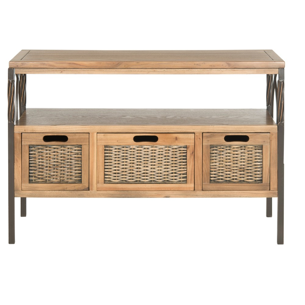 Joshua Console Table - Oak - Safavieh, Brown
