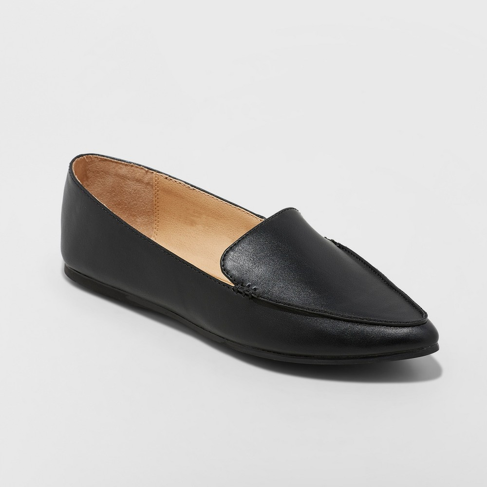 Women's Micah Wide Width Pointy Toe Loafers - A New Day Black 7W, Size: 7 Wide