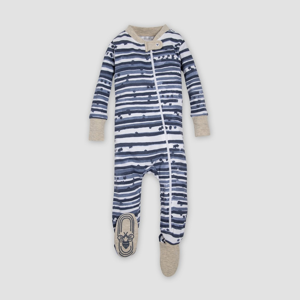 Burt's Bees Baby Organic Cotton Starry Stripes Footed Sleeper - Blue 6-9M, Infant Unisex