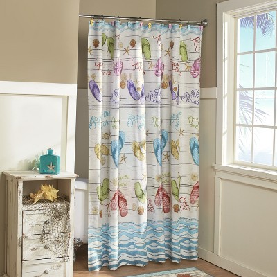 Lakeside Flip-Flops Bathroom Shower Curtain with Tropical Beach Themed Accents