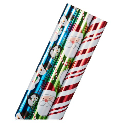3ct Holiday Friends, Candy Cane Stripes, and Santa Foil Wrapping Paper - image 1 of 2