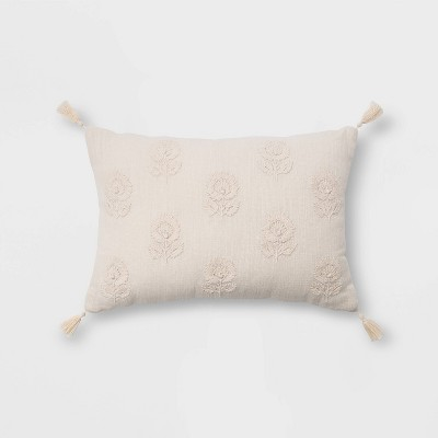 Embroidered Floral Lumbar Throw Pillow with Tassels Cream - Threshold™