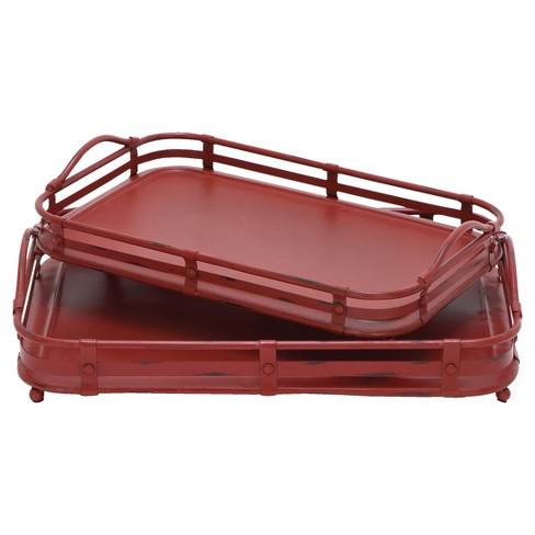 Farmhouse Iron Wagon Top Tray Set Red 2pk - Olivia & May - image 1 of 4