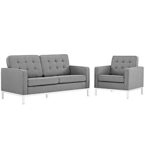 Loft Living Room Set Upholstered Fabric Set of 2 Light Gray - Modway - image 1 of 4