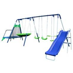 Sportspower Mountain View Metal Swing, Slide, and Trampoline Set - Blue/Yellow