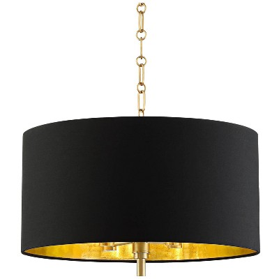 "Barnes and Ivy Warm Gold Drum Pendant Chandelier 20"" Wide Modern Black Fabric Drum Shade Fixture Dining Room House Foyer Kitchen"