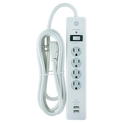 GE 4-Outlet Surge Protector with 2 USB Charging Ports