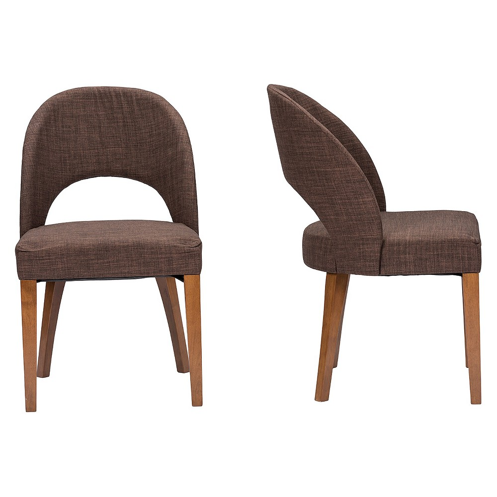 Lucas Mid-Century Style Fabric Dining Chair - Brown (Set Of 2) - Baxton Studio