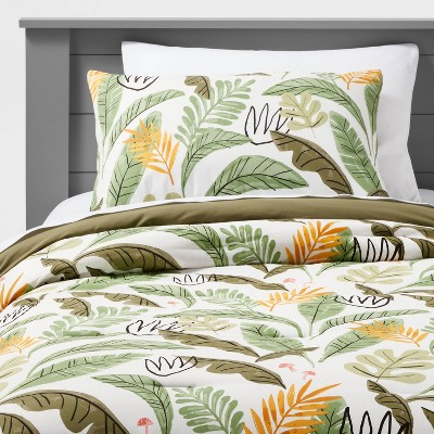 Botanical Garden Cotton Comforter Set Green - Pillowfort™