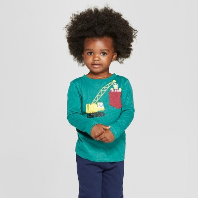 Toddler Boys' Long Sleeve Graphic T-Shirt With Pocket - Cat & Jack™ Green 2T