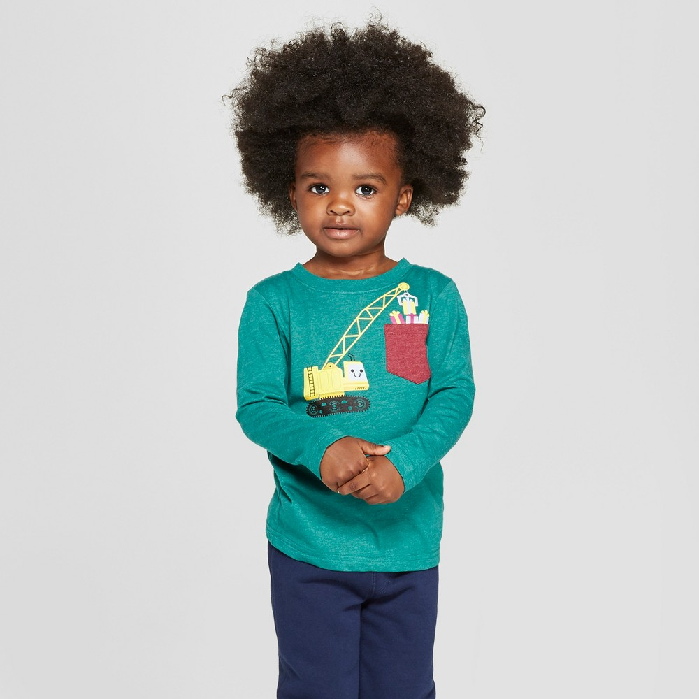Toddler Boys' Long Sleeve Graphic T-Shirt With Pocket - Cat & Jack Green 12M