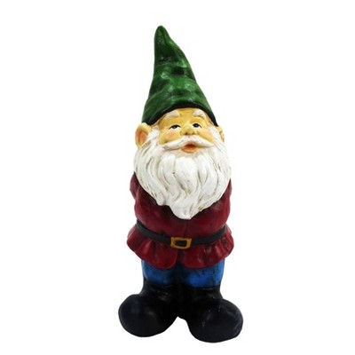 """12"""" Polyresin Bearded Garden Gnome Statue With Green Hat - Alpine Corporation"""