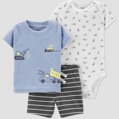 Baby Boys' 3pc Construction Embroided Top and Bottom Set - Just One You® made by carter's Blue/White/Gray 3M