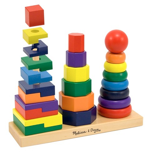 Melissa & Doug® Geometric Stacker - Wooden Educational Toy - image 1 of 2