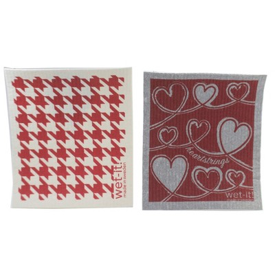 """Swedish Dish Cloth 7.75"""" Heartstrings & Hounstooth Red Absorbant Cloth Cleaning  -  Dish Cloth"""