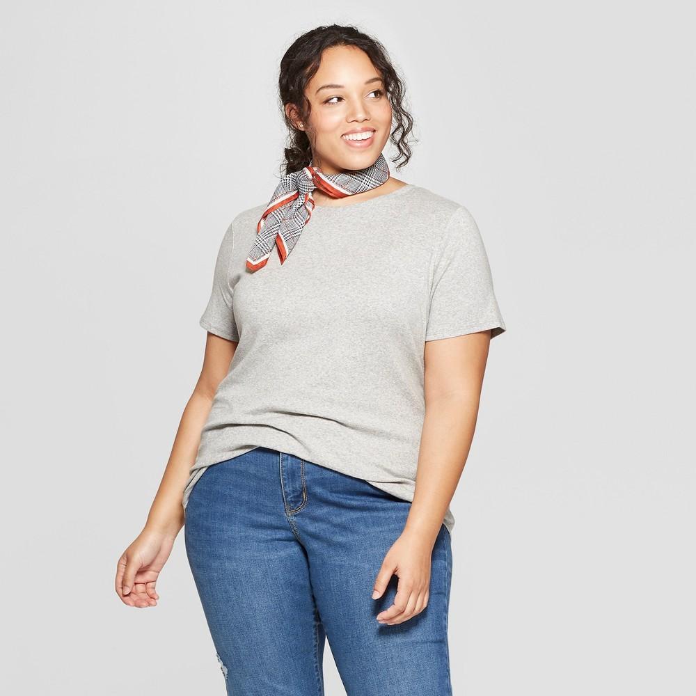 Women's Plus Size Short Sleeve Crew Neck T-Shirt - Ava & Viv Light Gray Heather 2X