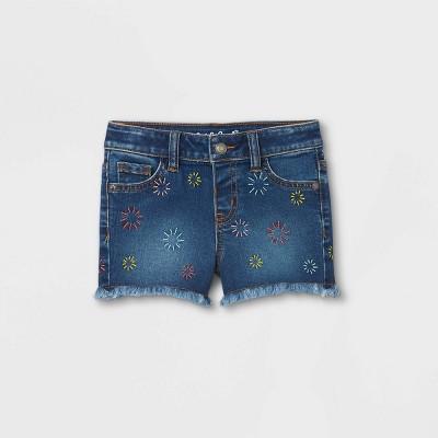 Toddler Girls' Sunburst Embroidery Cut-Off Jean Shorts - Cat & Jack™ Dark Blue