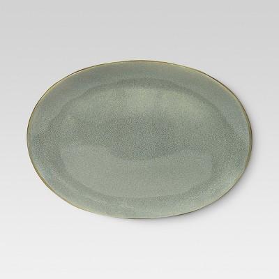 Belmont Round Serving Platter 15x10.7in Stoneware Gray - Threshold™