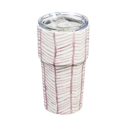 Cypress Home Double Wall Ceramic Companion Cup With Tritan Lid 13 Oz Pretty In Pink Pattern Target