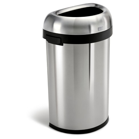 simplehuman 60 Liter Semi-Round Open Top Trash Can, Commercial Grade,  Heavy-Gauge Brushed Stainless Steel