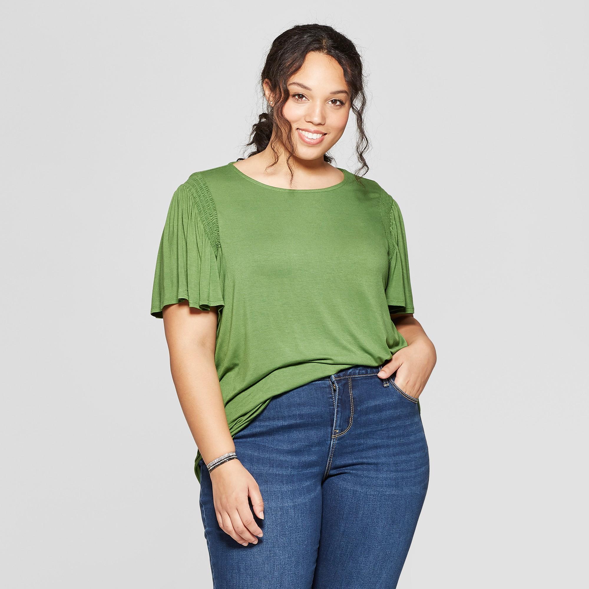 Women's Plus Size Short Sleeve Crew Neck Smocked Detail Knit T-Shirt - Ava & Viv Green 2X