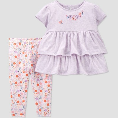 Baby Girls' 2pc Floral Top & Bottom Set - Just One You® made by carter's Purple