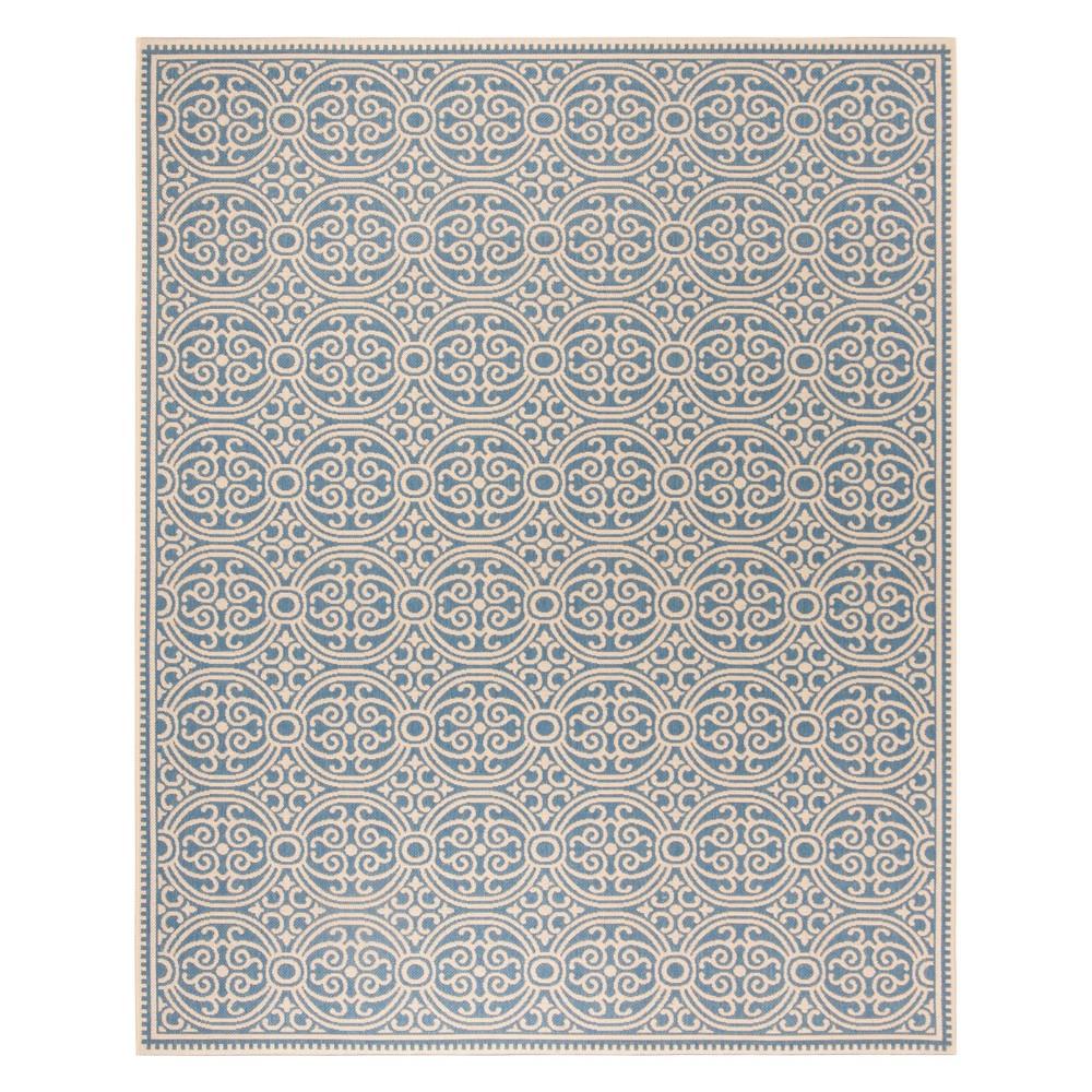 8'X10' Medallion Loomed Area Rug Cream/Blue (Ivory/Blue) - Safavieh