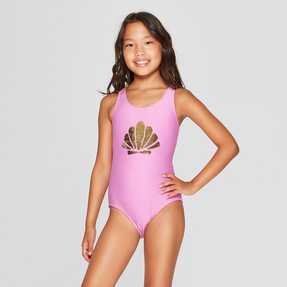 Plus Size Girls' Flip Sequins One Piece Swimsuit - Cat & Jack Purple L Plus