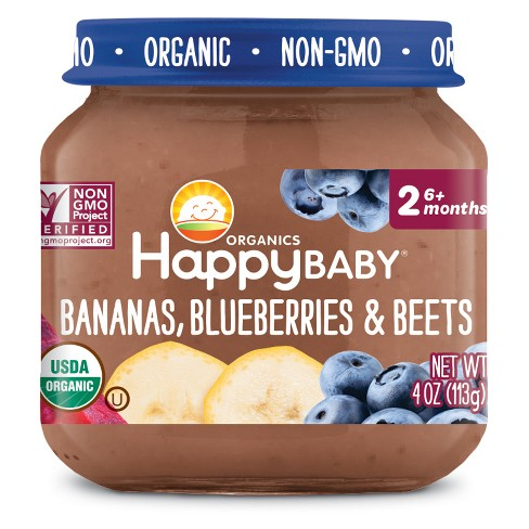 HappyBaby Fruit And Vegetable Snacks Bananas, Blueberries & Beets Baby Food - 4oz - image 1 of 2