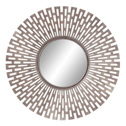 "27.75""x27.75"" Champagne Round Geometric Sunburst Decorative Wall Mirror Gold - Patton Wall Decor - image 1 of 4"