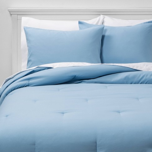Bed In A Bag Blue Solid Microfiber With, Queen Size Bedding In A Bag