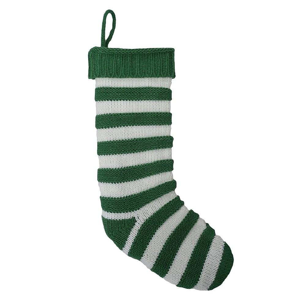 Stripe Knit Christmas Stocking Green - Wondershop