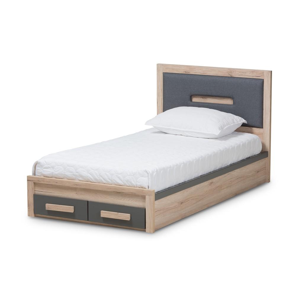 Pandora Modern and Contemporary Two Tone 2 Drawer Twin Size Storage Platform Twin Bed Dark Gray - Baxton Studio, Dark Grey