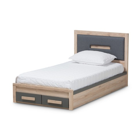 . Pandora Modern and Contemporary Two Tone 2 Drawer Twin Size Storage  Platform Twin Bed Dark Gray   Baxton Studio