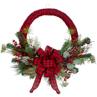 Northlight Red and Black Buffalo Plaid and Berry Artificial Christmas Wreath - 24-Inch, Unlit