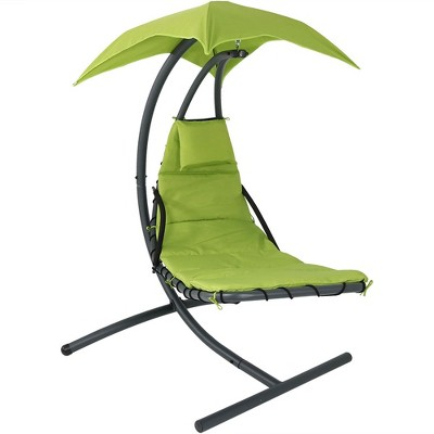 Hanging Chaise Lounge Chair With Canopy Umbrella   Apple Green   Sunnydaze  Decor