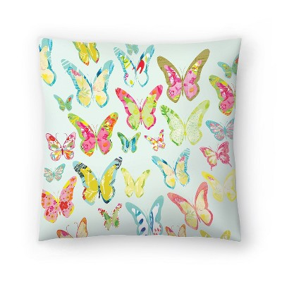 Americanflat Bug Butterflies Mint by Kristine Lombardi Throw Pillow