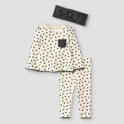 Baby Girls' 3pc Polka Dot Rib Top & Bottom Set with Headband - Cat & Jack™ White 3-6M