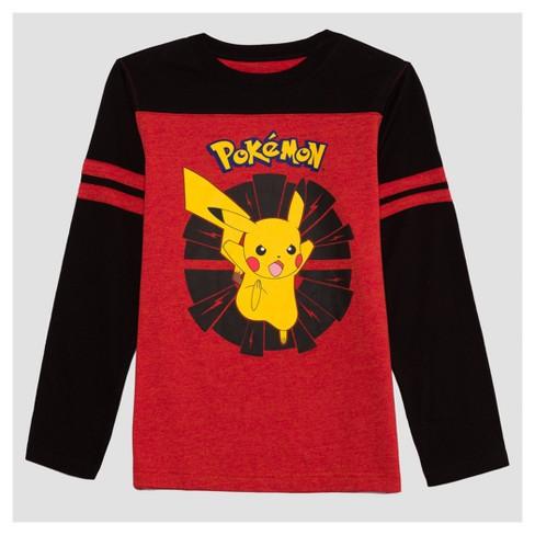 dd9eb5ea Boys' Long Sleeve Pikachu T-Shirt - Red/Black : Target