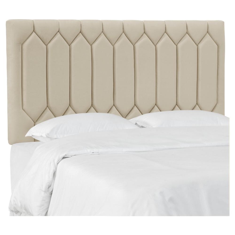 Sophie Upholstered Diamond Tufted Headboard - Full - Buckwheat Velvet - Skyline Furniture