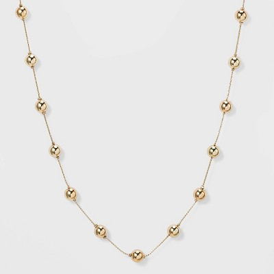 Brass Beaded Necklace - A New Day™ Gold